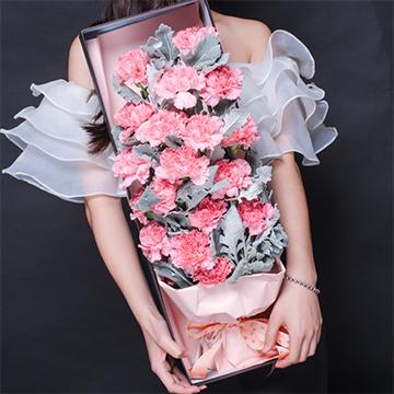 深深母爱-19支精品粉色康乃馨