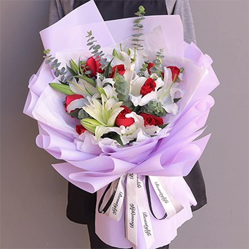 浪漫香气-9支精品红玫瑰+4支多头白百合