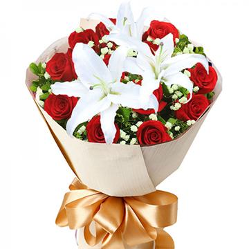 秘密花园-11支亚博体育官方通道红玫瑰+百合