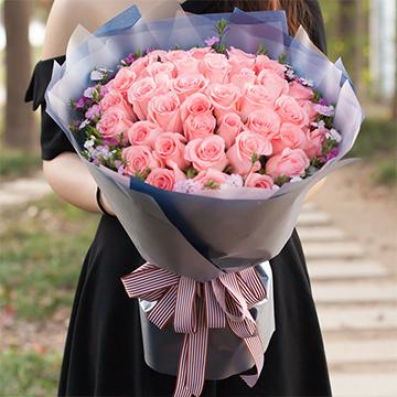 真诚的祝福-33支精品粉玫瑰