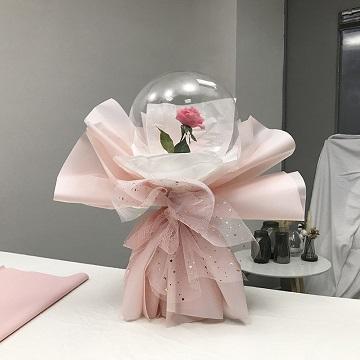 粉雪佳人-网红款告白气球单支玫瑰花束