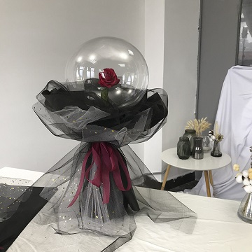 爱是唯一冷艳风告白气球单支红玫瑰花束