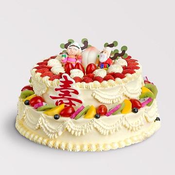 双星贺寿-双层水果蛋糕