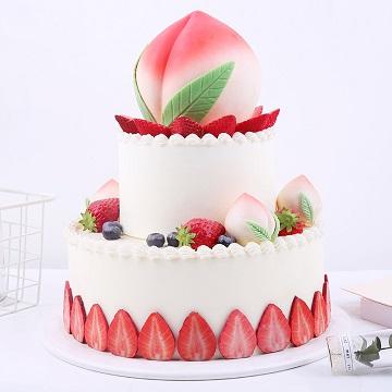 双层仙桃祝寿蛋糕