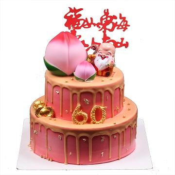 福禄寿来-双层祝寿蛋糕