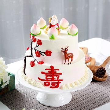 双层奶油祝寿蛋糕