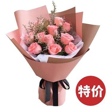 恋恋情深-11支精品粉玫瑰