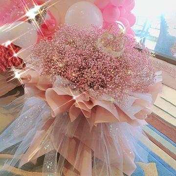 幸福快乐-粉色满天星花束