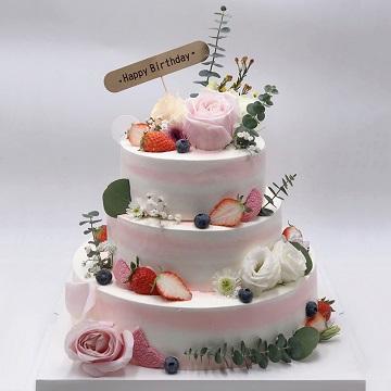 三层鲜花主题网红奶油蛋糕