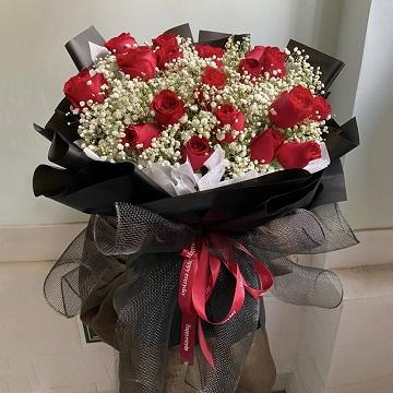 帕巴拉的爱-19支精品红玫瑰+满天星混搭